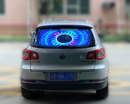 Transparent car rear window LED display